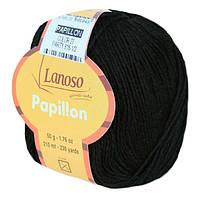 Летняя пряжа Lanoso Papillon 27 50% хлопок 50% вискоза черная