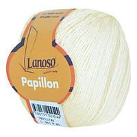 Летняя пряжа Lanoso Papillon 901 50% хлопок 50% вискоза молочная