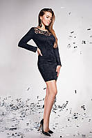 Женское облегающее платье, чёрное, короткое, приталенное, эко-замша, с перфорацией, молодёжное, нарядное