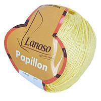 Летняя пряжа Lanoso Papillon 914 50% хлопок 50% вискоза желтая