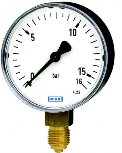 Манометр WIKA 111.10.100 0...16 бар., G1/2B, радіально, кл.т.1,6 сталь, +150 С.