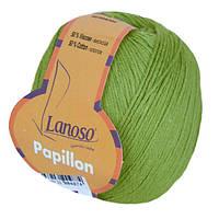 Летняя пряжа Lanoso Papillon 915 50% хлопок 50% вискоза зеленая