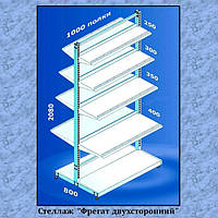 Торговый стеллаж Фрегат двухсторонний  используется как напольное торговое оборудование