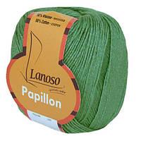 Летняя пряжа Lanoso Papillon 920 50% хлопок 50% вискоза зеленая
