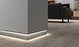 Напольный алюминиевый плинтус с LED подсветкой Braz Line анодированный 61.5x3000 мм BL3002L