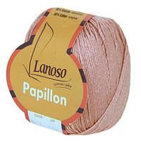 Летняя пряжа Lanoso Papillon 947 50% хлопок 50% вискоза астра