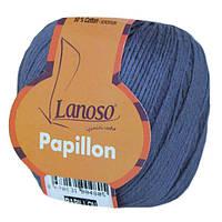 Летняя пряжа Lanoso Papillon 954 50% хлопок 50% вискоза синяя