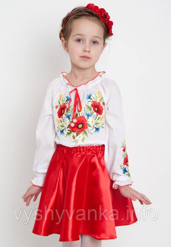 детская блузка с вышитыми маками купить киев