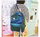 Блестящий рюкзак школьный, городской зелёный., фото 2