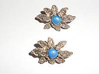 Серьги из ювелирного сплава под серебро с голубыми камушками  Корея, фото 1