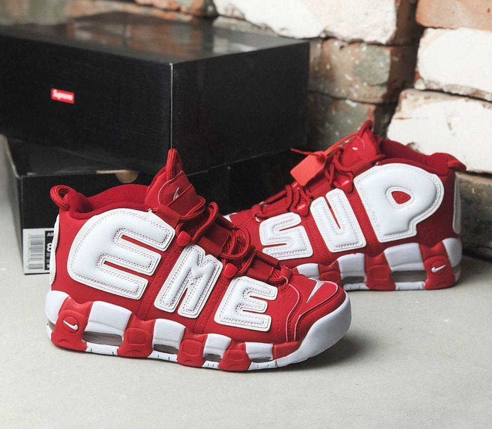 bbc72f16 Nike Air More Uptempo x Supreme Red/White | кроссовки женские и мужские;  красные