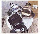 Блестящий рюкзачок молодежный с брелком помпоном черный., фото 2