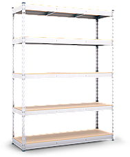 Стеллаж полочный МКП на зацепах (2160х1600х600), ДСП, 5 полок, 300 кг/полка, фото 3