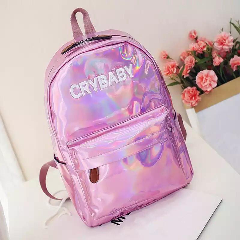 Голографический  рюкзак Cry Baby розовый.