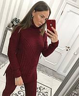 Бордовый вязаный  костюм с удлиненным свитером, фото 1