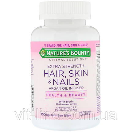 Nature's Bounty, Optimal Solutions, Hair, Skin & Nails, Extra Strength, 150 быстрорастворимых мягких капсул, фото 2