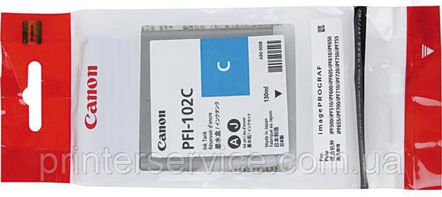 Картридж PFI-102C для плоттера iPF 500/ 600 /700 series, голубой, 130 мл (0896B001)