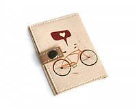 Обложка на ID паспорт (ID карту) Велосипед с сердечком
