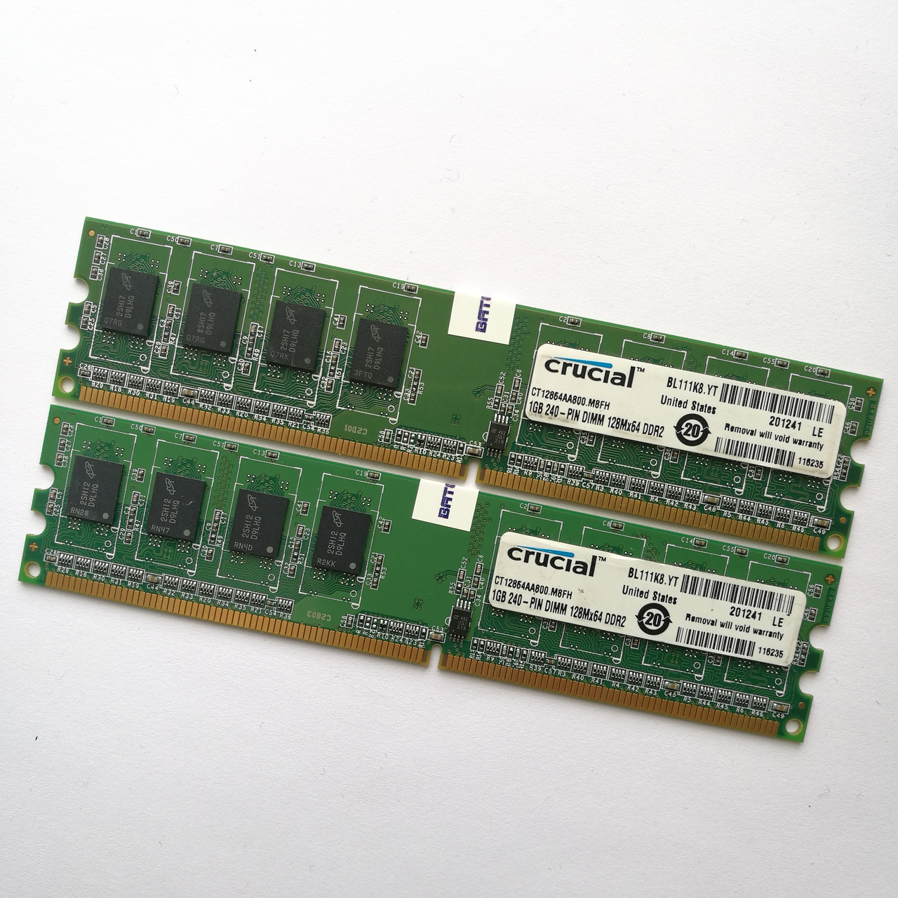 Комплект оперативной памяти Crucial DDR2 2Gb (1Gb+1Gb) 800MHz PC2 6400U CL6 (CT12864AA800.M8FH) Б/У