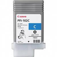 Картридж Canon PFI-102C Cyan для iPF500/6x0, голубой, 130мл (0896B001)
