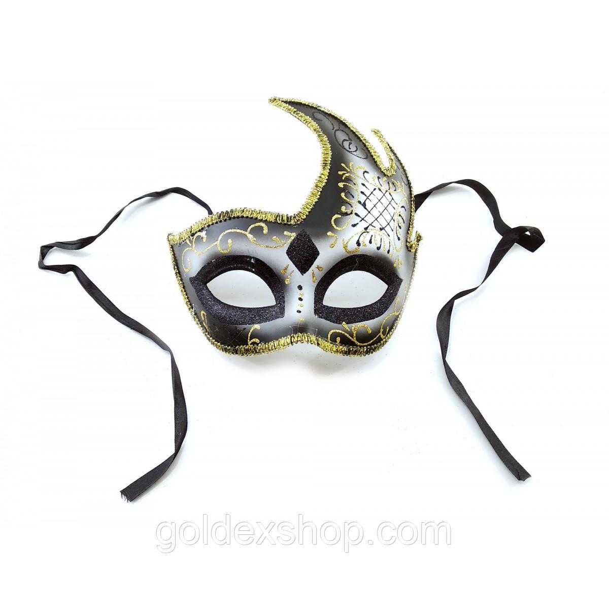 Маска венецианская карнавальная для лица черная