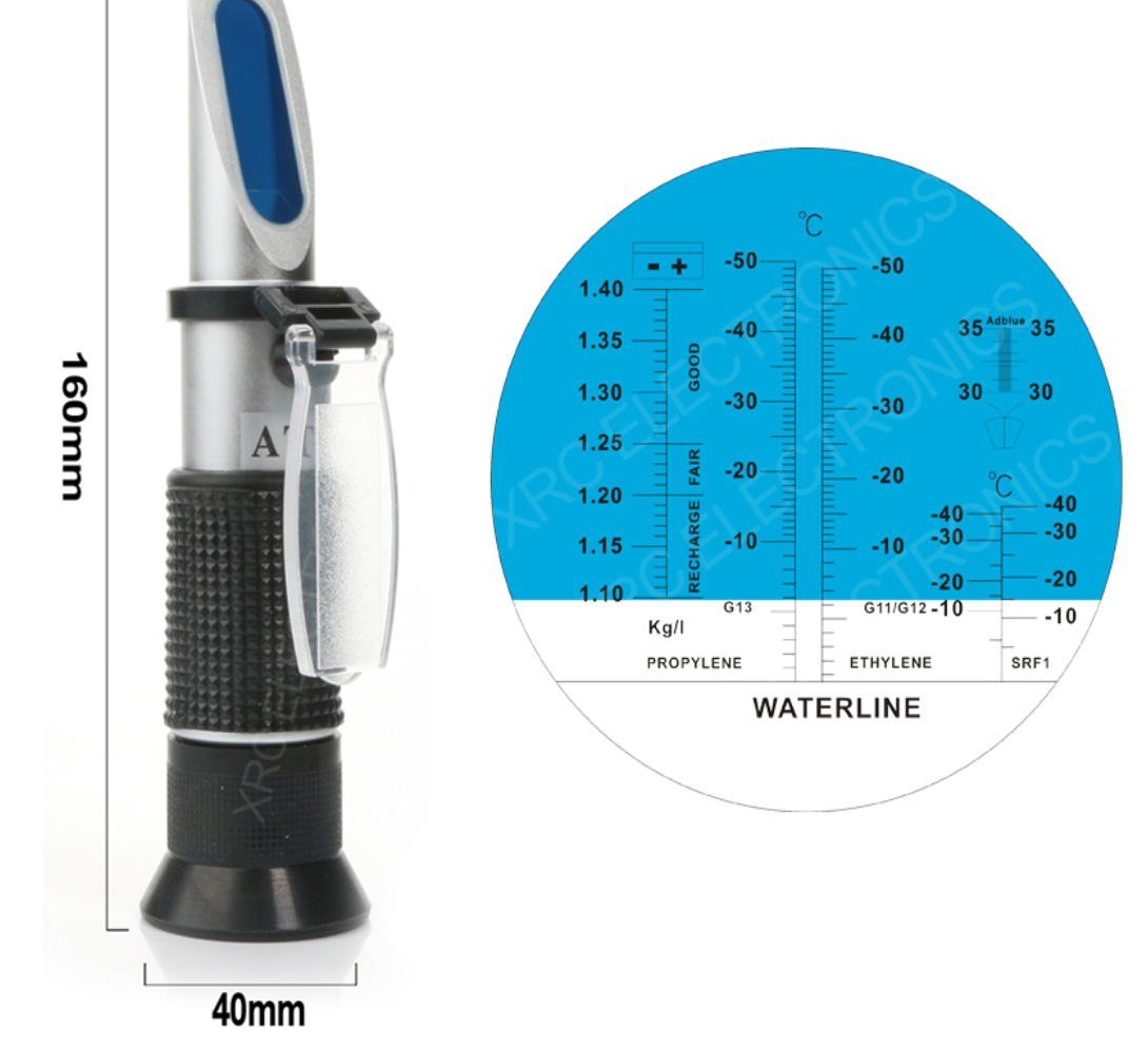 Рефрактометр плотности электролита аккумуляторов, замерзания охлаждающей жидкости 115