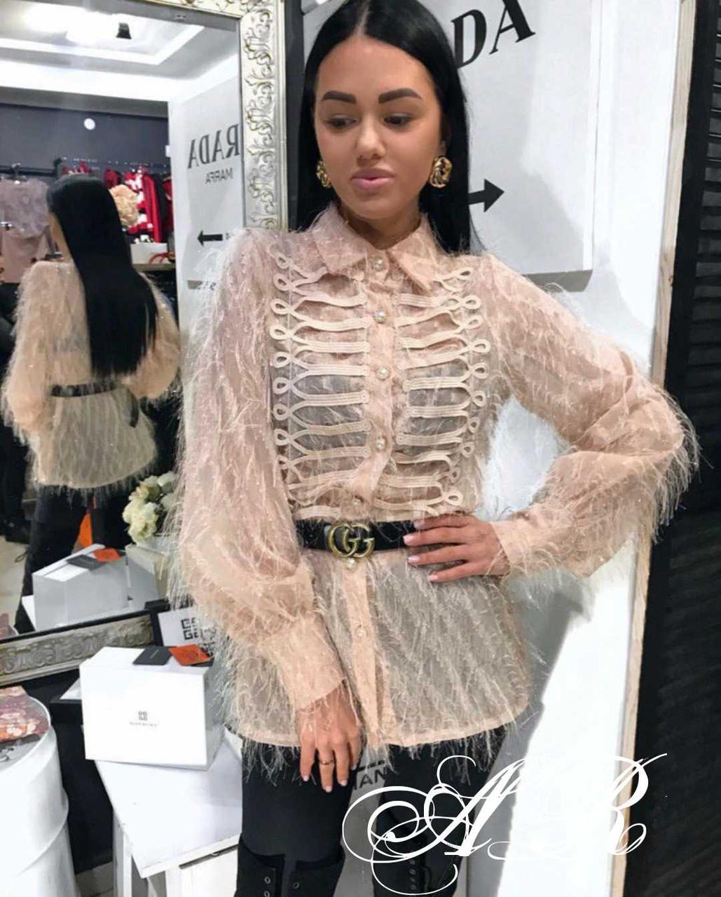 Блуза (Фабричный Китай) без пояса! ткань фатин  размер универсальный 42/44. Разные цвета (11078)