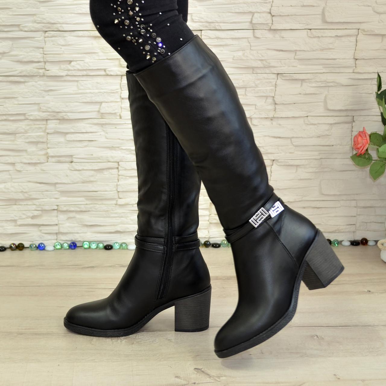 05d3a1cf3 ... Сапоги зимние черные кожаные женские на устойчивом каблуке. В наличии  36-39 размер,