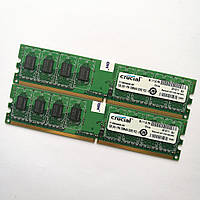 Комплект оперативной памяти Crucial DDR2 2Gb (1Gb+1Gb) 800MHz PC2 6400U CL6 (CT12864AA800.K8F) Б/У, фото 1