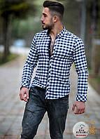 Мужская приталенная рубашка в клетку