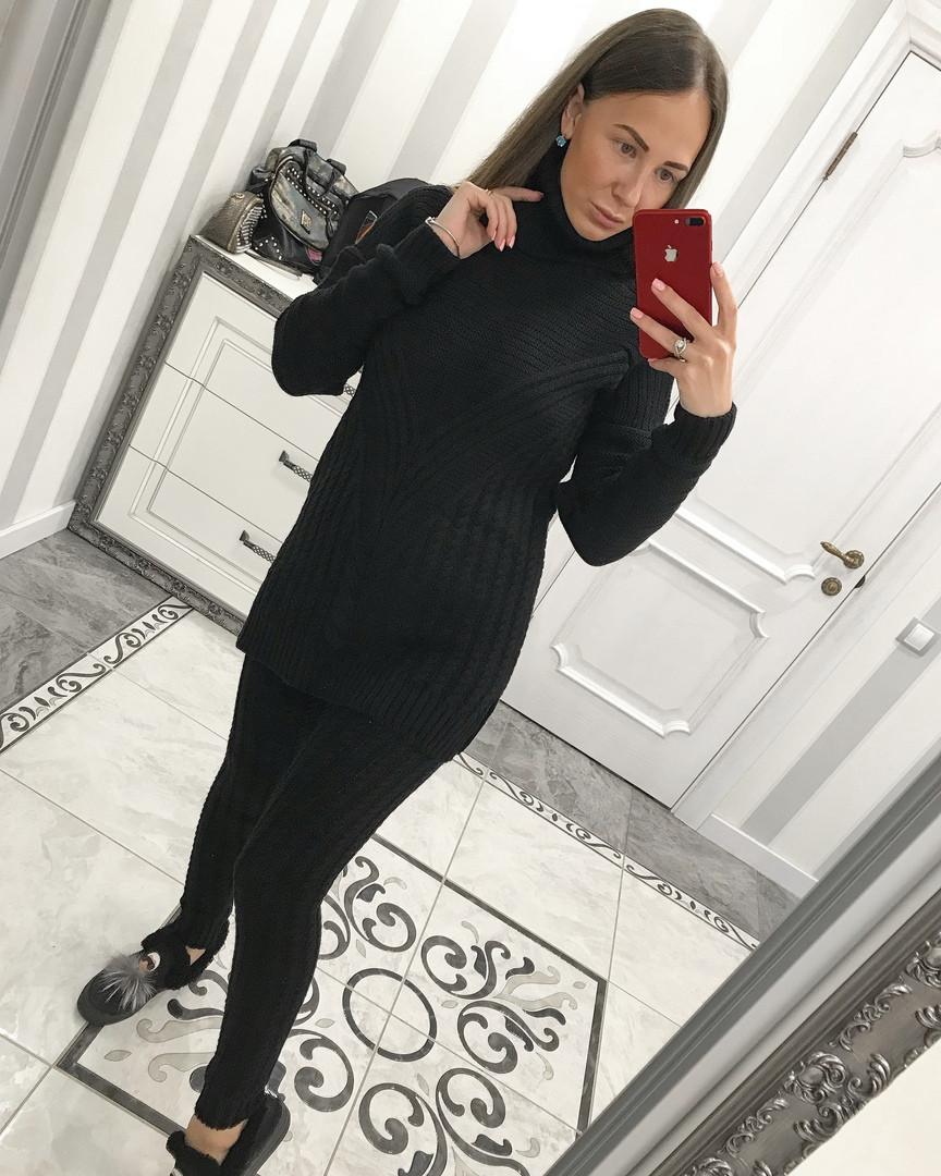 Вязаный черный костюм с лосинами