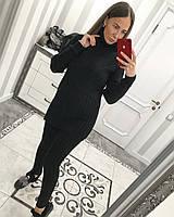 Вязаный черный костюм с лосинами, фото 1