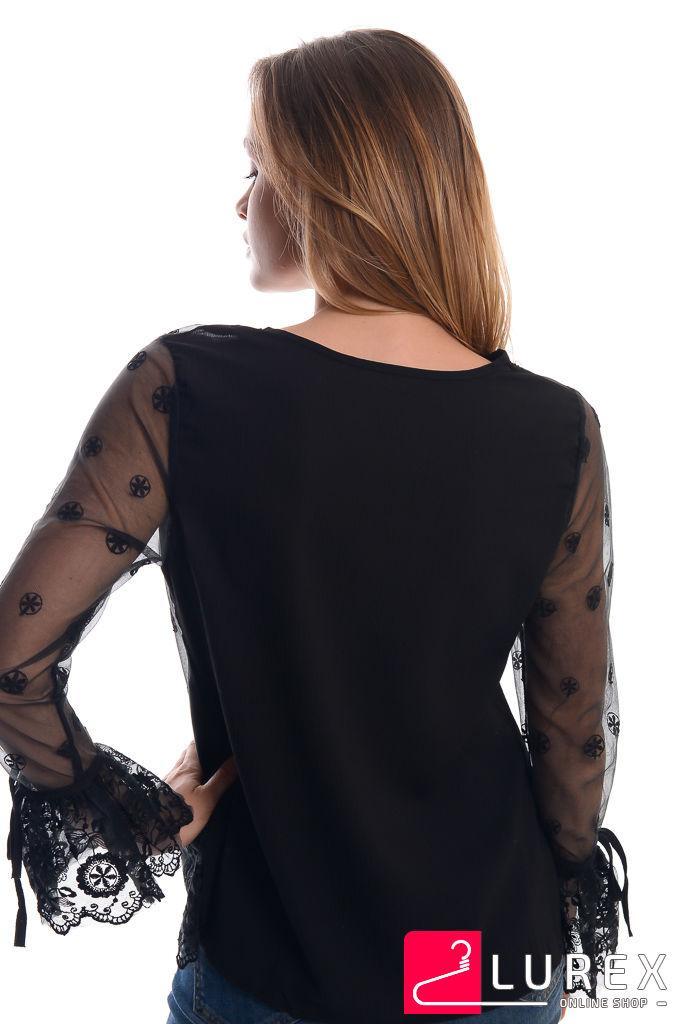 4e606b80149 Блуза из органзы с цветочной вышивкой - черный цвет