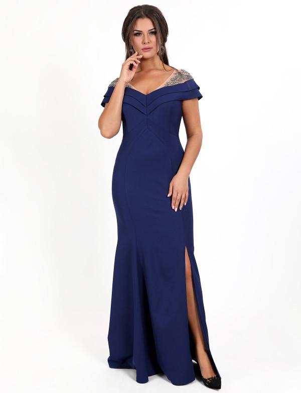 Вечернее платье большой размер длинное облегающее к низу клеш с разрезом декольте со стразами электрик