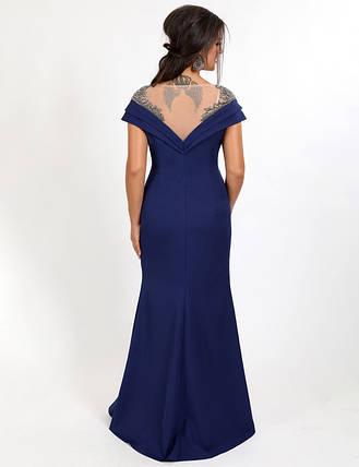 Вечернее платье большой размер длинное облегающее к низу клеш с разрезом декольте со стразами электрик, фото 2
