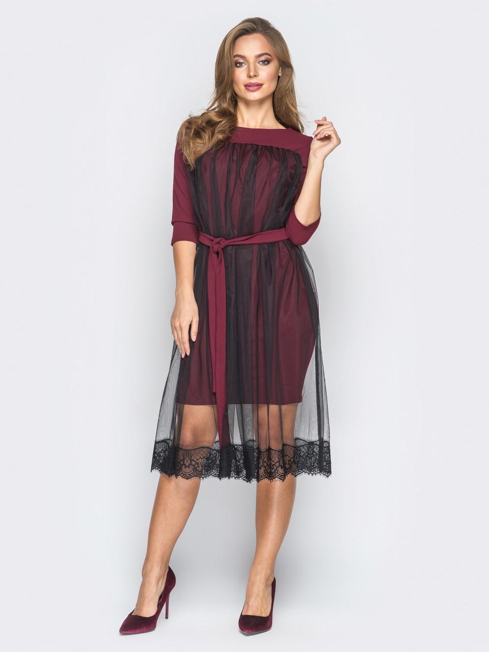 a573742d11f 🎈Воздушное бордовое платье прямого кроя с поясом (с фатином ...
