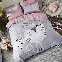 Серое хлопковое постельное белье Счастливый котенок (двуспальный-евро), фото 1