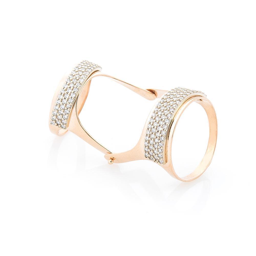 Золотое кольцо на фалангу с фианитами гк05031