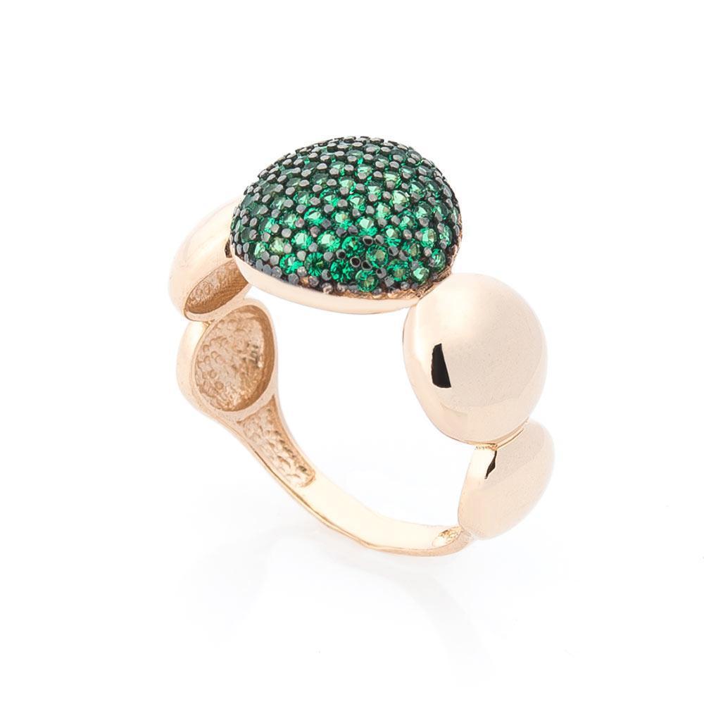 Золотое кольцо с зелеными фианитами гк05396