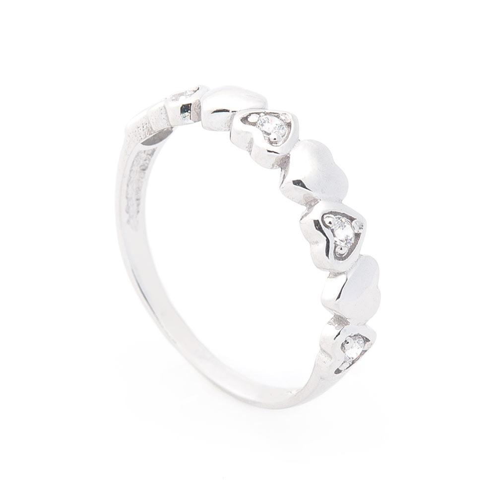 """Золотое кольцо """"Сердечки"""" (фианиты) гк05595"""