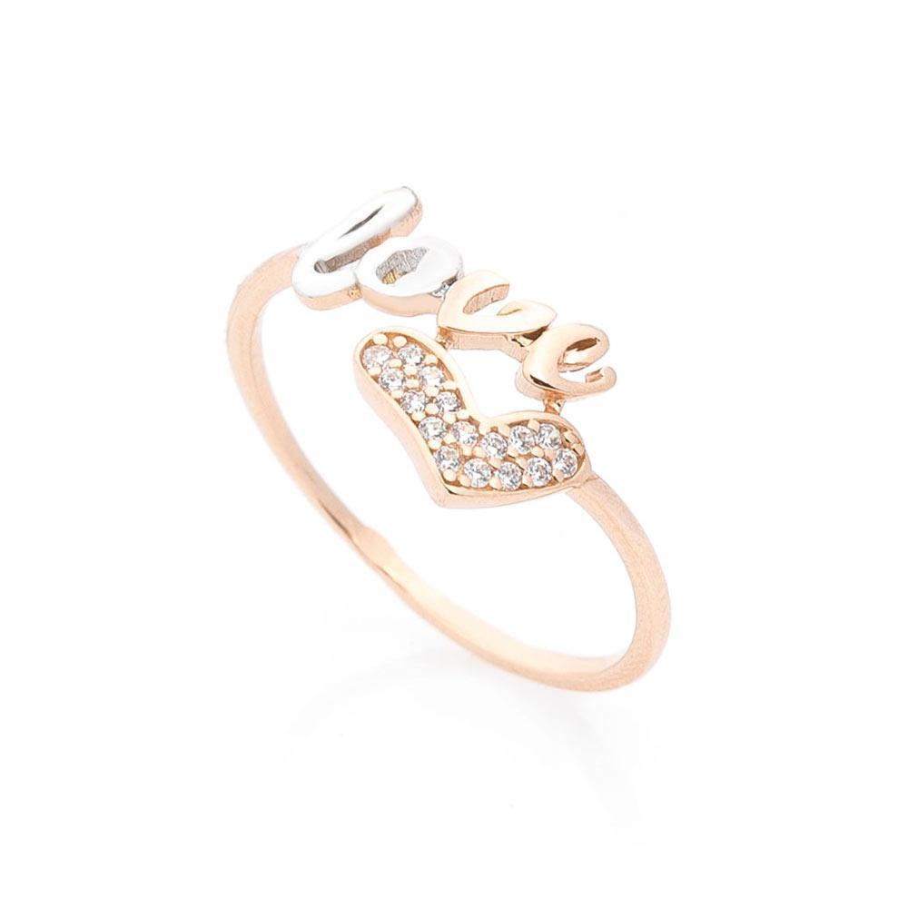 """Золотое кольцо """"Love"""" с фианитами гк05634"""