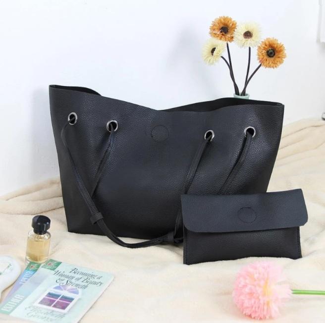 Модная городская женская сумка JingPin 2 в 1 чёрная (сумка + клатч) 01067