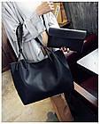 Модная городская женская сумка JingPin 2 в 1 чёрная (сумка + клатч) 01067, фото 3