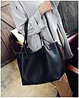 Модная городская женская сумка JingPin 2 в 1 чёрная (сумка + клатч) 01067, фото 4