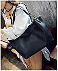 Модная городская женская сумка JingPin 2 в 1 чёрная (сумка + клатч) 01067, фото 5