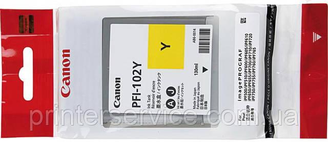 Картридж PFI-102Y для плоттера iPF 500/ 600 /700 series, желтый, 130 мл (0898B001)