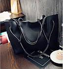 Модная городская женская сумка JingPin 2 в 1 чёрная (сумка + клатч) 01067, фото 2