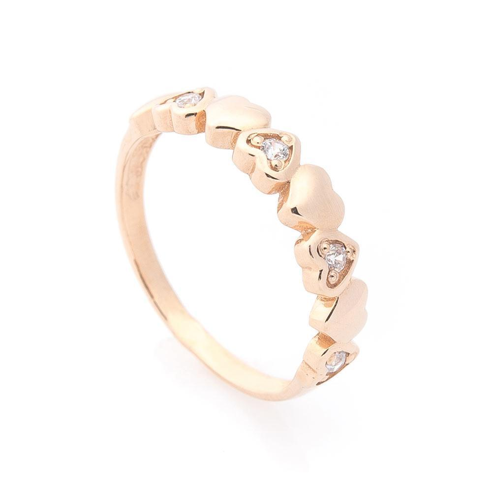 """Золотое кольцо """"Сердечки"""" (фианиты) гк05601"""
