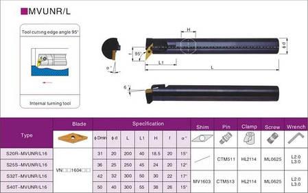 S20R-MVUNR16 Різець (державка) токарний розточний, фото 2