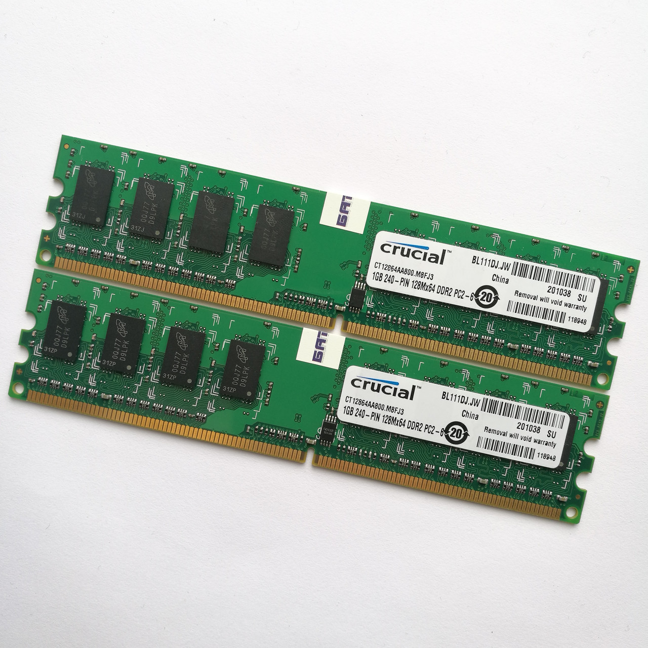 Комплект оперативной памяти Crucial DDR2 2Gb (1Gb+1Gb) 800MHz PC2 6400U CL6 (CT12864AA800.M8FJ3) Б/У